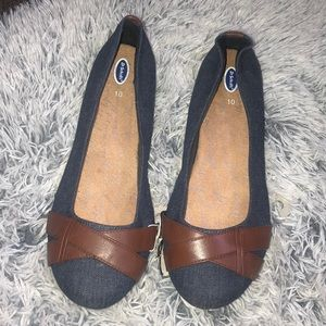 Brown and blue flats